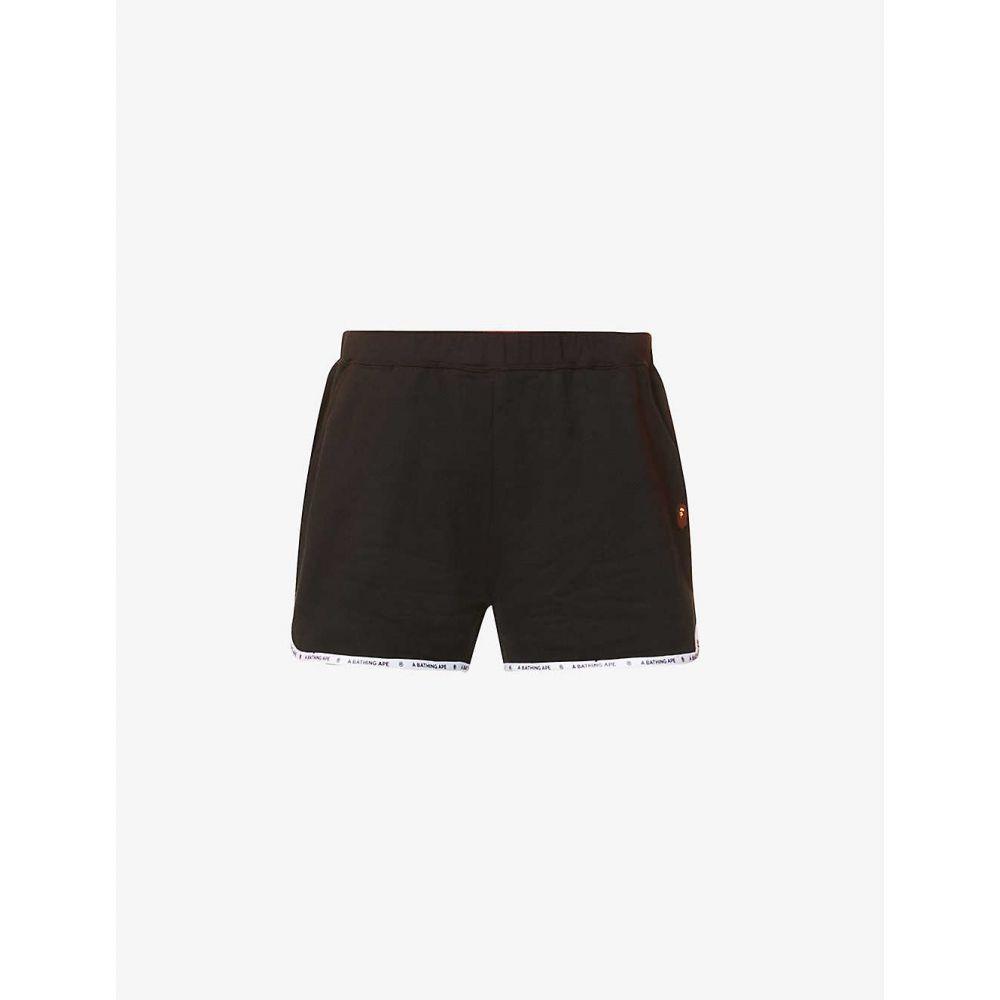 ボトムス, パンツ  BAPE Logo-embroidered cotton-jersey shortsBLACK