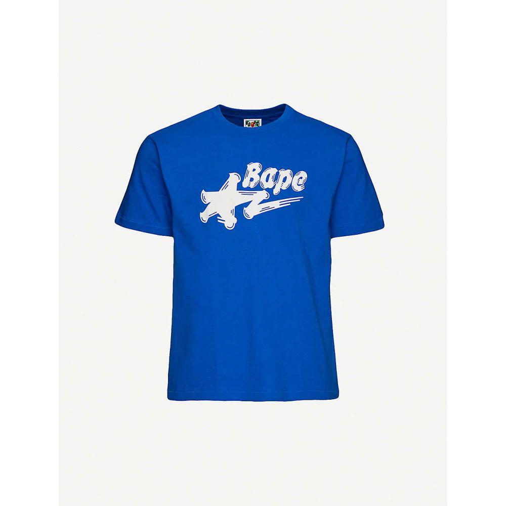 トップス, Tシャツ・カットソー  A BATHING APE T Bapesta logo print cotton-jersey T-shirtBLUE