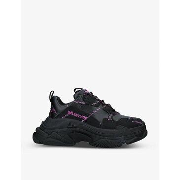 バレンシアガ BALENCIAGA レディース スニーカー シューズ・靴【Triple S logo-print faux-leather trainers】BLACK/COMB