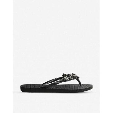 ハワイアナス HAVAIANAS レディース ビーチサンダル シューズ・靴【Slim Capri II embellished flip-flops】BLACK