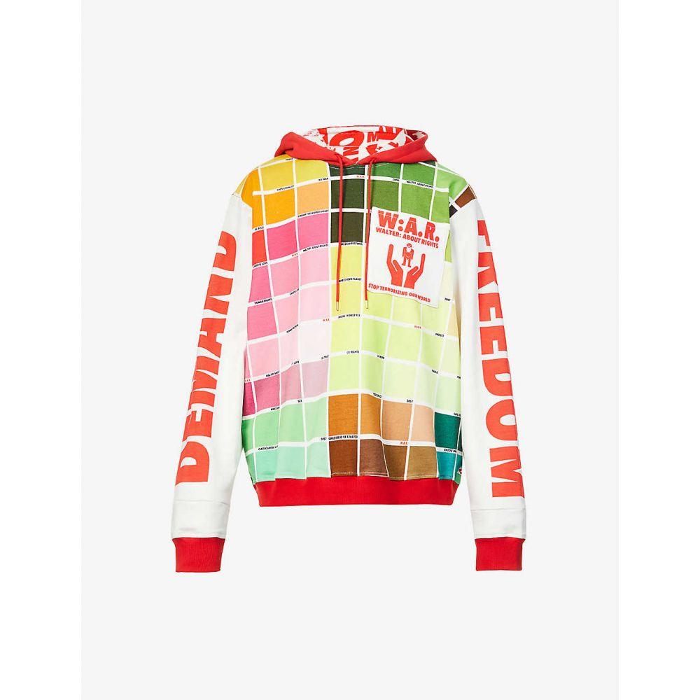 トップス, パーカー  WALTER VAN BEIRENDONCK Colour-blocked text-pattern cotton-jersey hoodyPINK GREEN