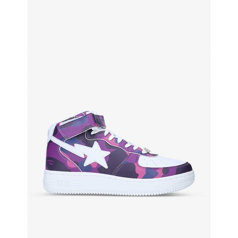 メンズ靴, スニーカー  A BATHING APE BAPE STA camouflage-print leather mid-top trainersPURPLE