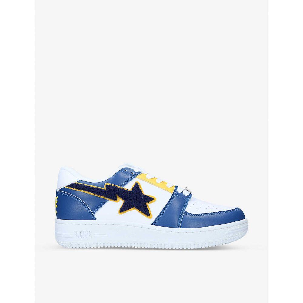 メンズ靴, スニーカー  A BATHING APE BAPE STA colour-blocked leather low-top trainersNAVY