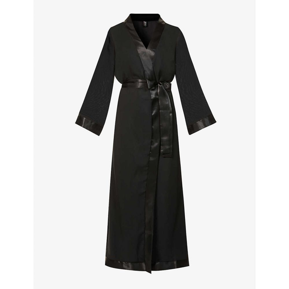 ナイトウェア・ルームウェア, バスローブ  BLUEBELLA Marcella satin-trim chiffon kimonoBLACK