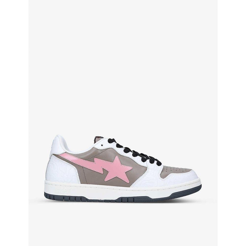 メンズ靴, スニーカー  A BATHING APE BAPE STA abstract-print leather low-top trainersPINK