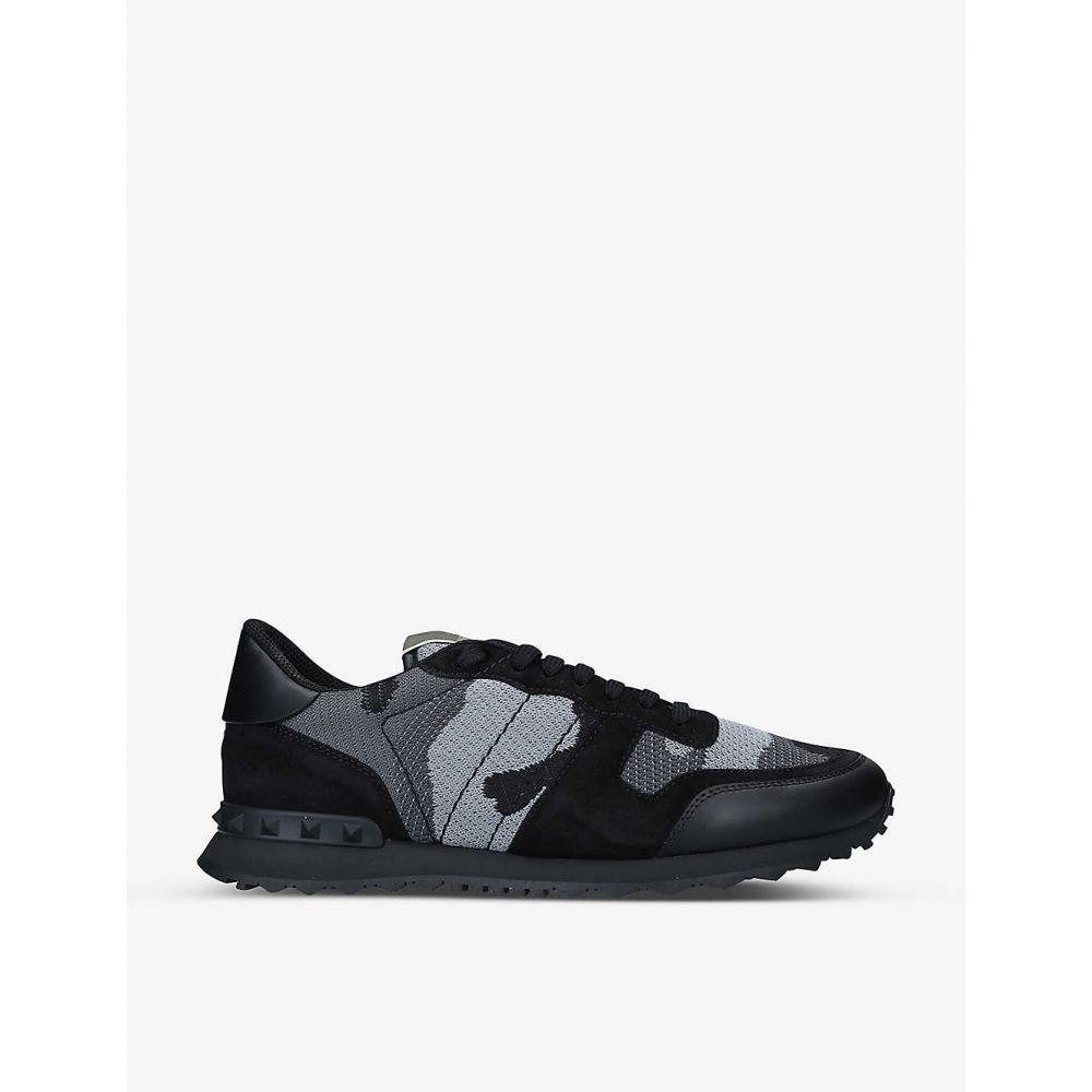メンズ靴, スニーカー  VALENTINO GARAVANI Rockrunner camouflage-print leather trainersBLKGREY