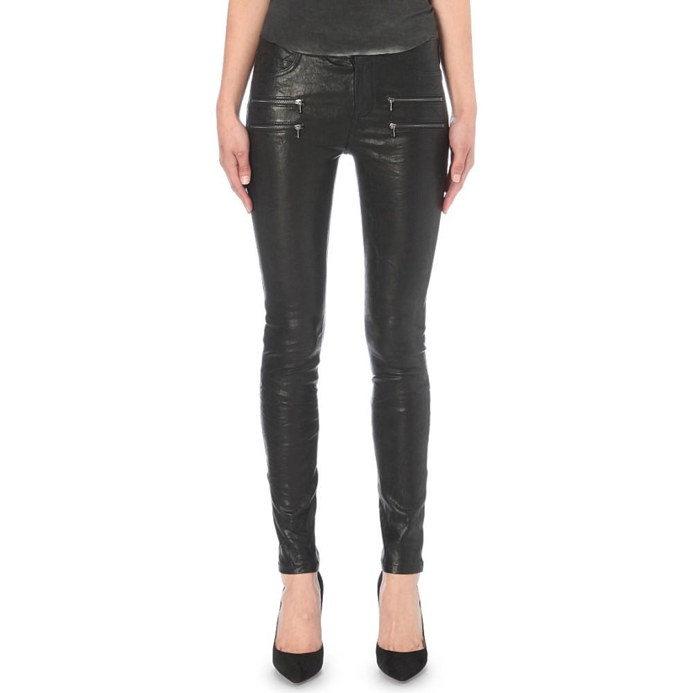 ペイジプレミアムデニム paige denim レディース ボトムス ジーンズ【edgemont skinny mid-rise leather jeans】Black:フェルマート