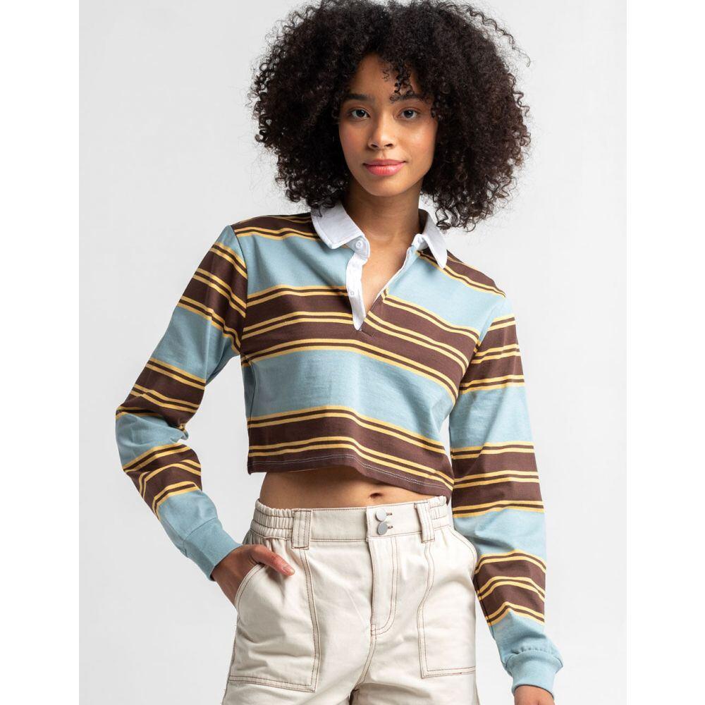 トップス, ポロシャツ  FULL TILT Blue Brown Yellow Stripe Rugby Polo ShirtBLUE