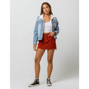 アールエスキュー RSQ レディース スカート ミニスカート【Exposed Button Corduroy Mini Skirt】Rust