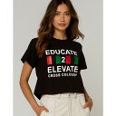 クロスカラーズ CROSS COLOURS レディース ベアトップ・チューブトップ・クロップド Tシャツ トップス【Educate 2 Elevate Crop Tee】BLACK