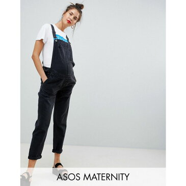 エイソス ASOS Maternity レディース ボトムス・パンツ オーバーオール【ASOS DESIGN Maternity denim dungaree in washed black】Washed black