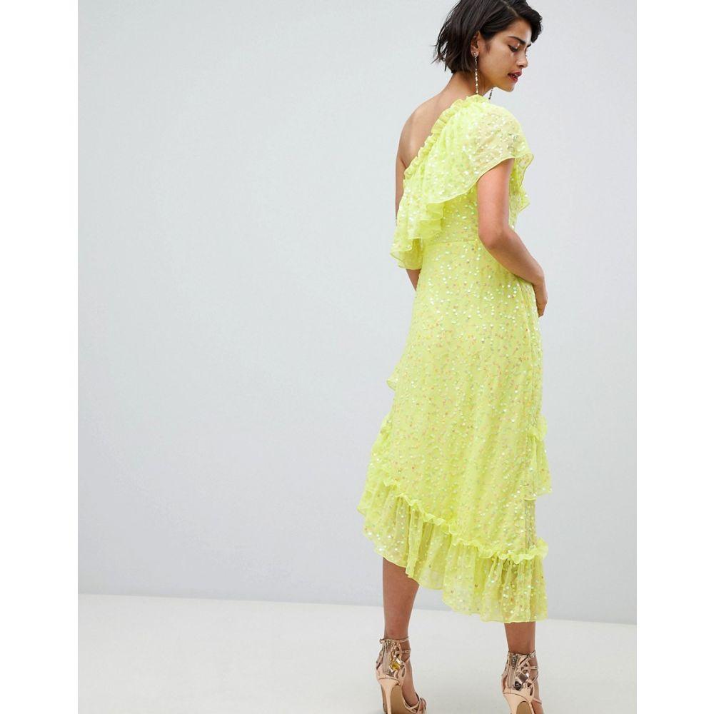 エイソス ASOS DESIGN レディース ワンピース・ドレス ワンピース【ruffle midaxi dress in sequin】Lime