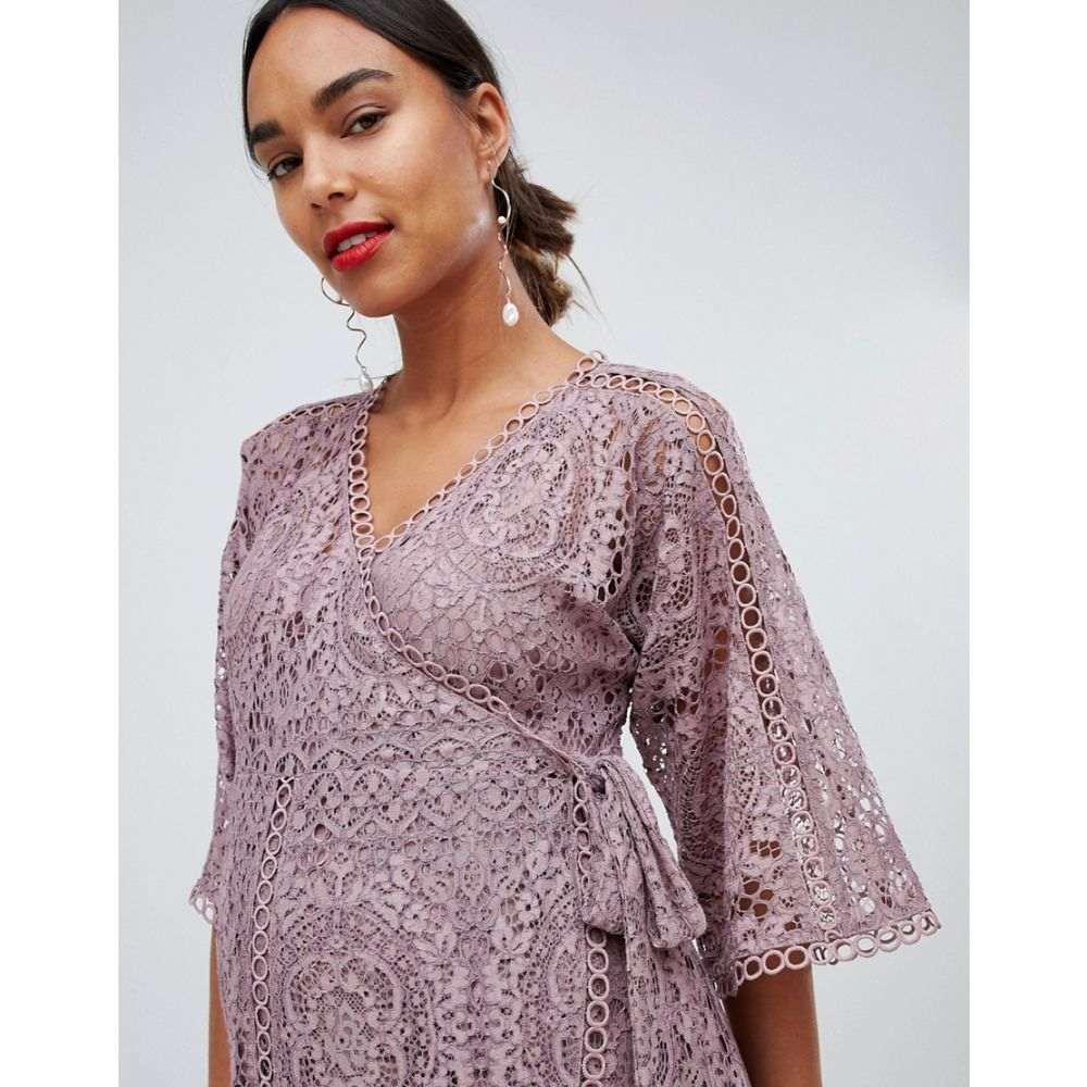 エイソス ASOS Maternity レディース ワンピース・ドレス ワンピース【ASOS DESIGN Maternity lace wrap midi dress】Mink