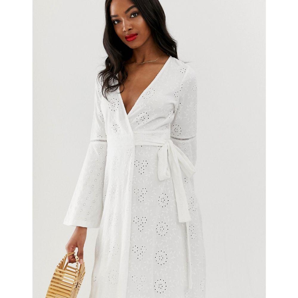 エイソス ASOS DESIGN レディース ワンピース・ドレス ワンピース【broderie wrap maxi dress】White