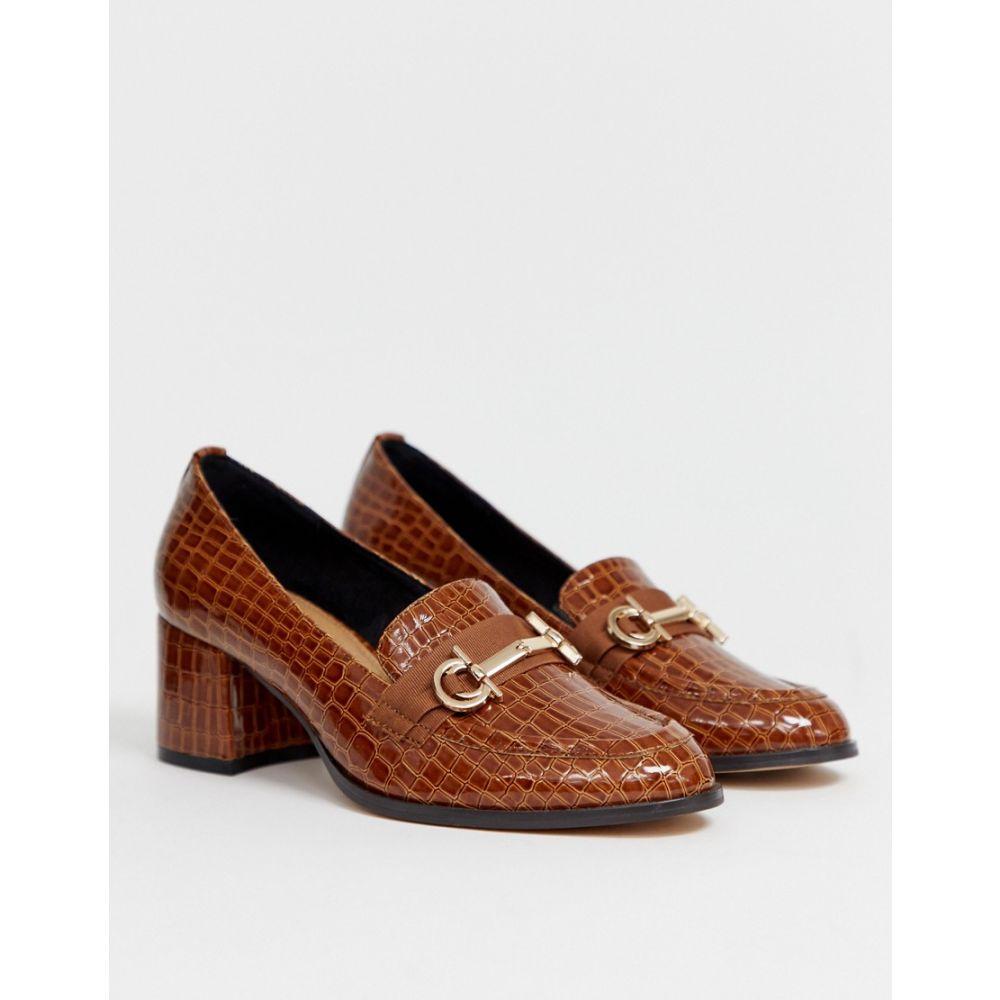 レディース靴, ローファー  ASOS DESIGN Stirrup heeled loafers in conker crocConker croc