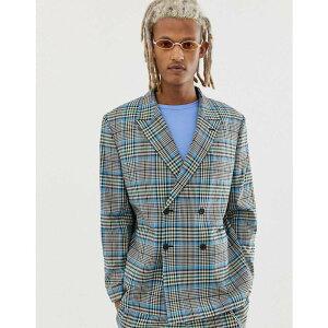エイソス ASOS DESIGN メンズ アウター スーツ・ジャケット【boxy suit jacket with colour pop check】Grey