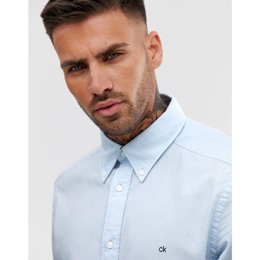カルバンクライン Calvin Klein メンズ トップス シャツ【exclusive to Asos small contrast logo oxford shirt slim fit in light blue】Cerulean