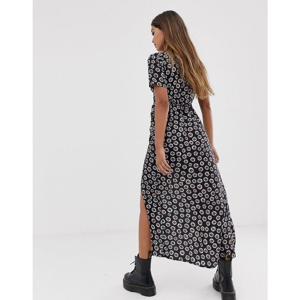 モーテル Motel レディース ワンピース・ドレス ワンピース【midi dress with thigh split in floral】Black daisy