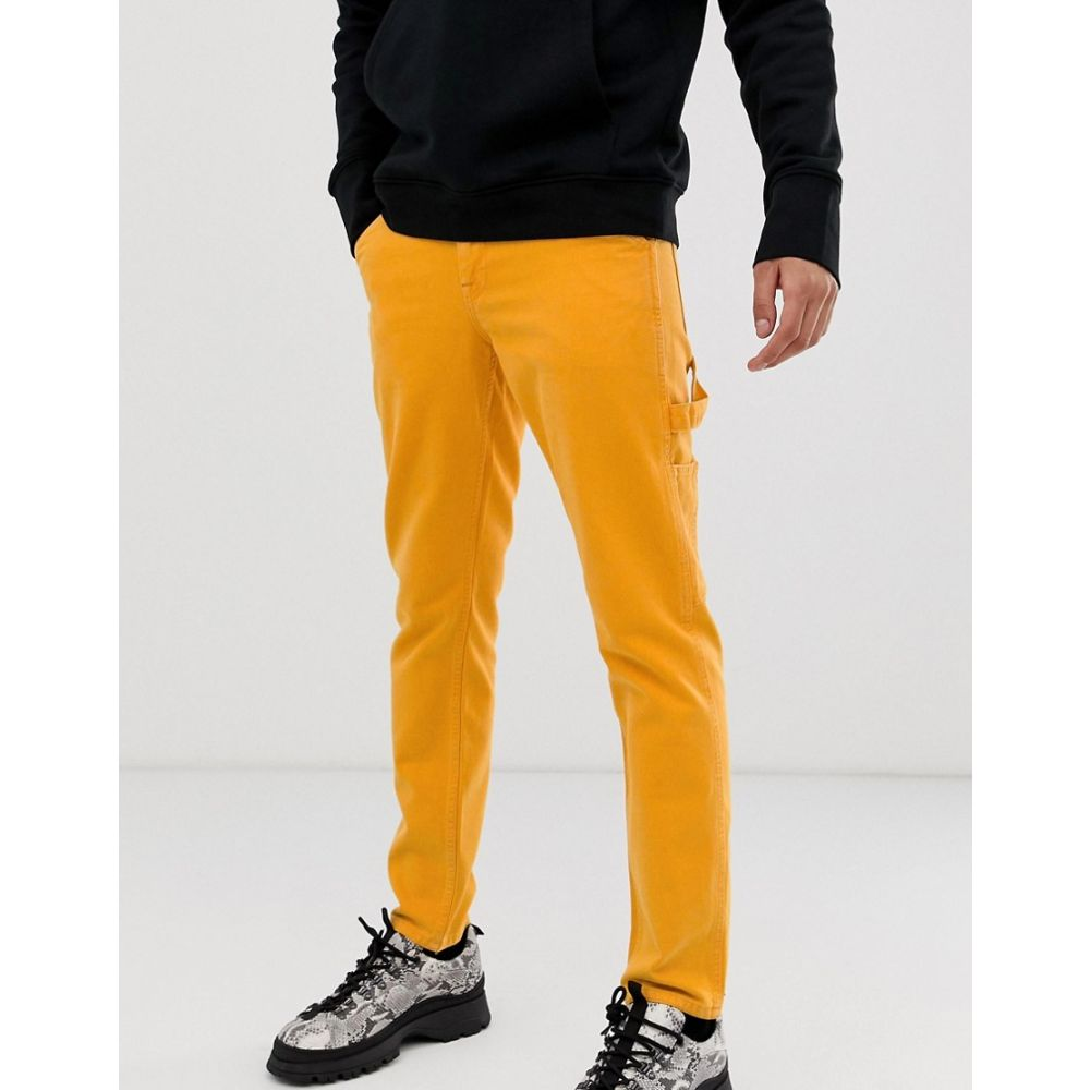メンズファッション, ズボン・パンツ  ASOS DESIGN slim jeans with carpenter detail in washed neon orangeOrange
