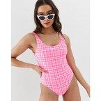 ニュールック New Look レディース 水着・ビーチウェア ワンピース【scoop back swimsuit in pink check】Pink pattern