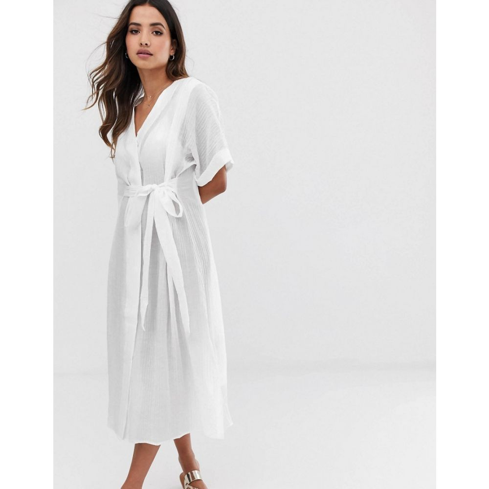 ワイ エー エス Y.A.S レディース ワンピース・ドレス ワンピース【textured cotton tie waist shirt dress】White