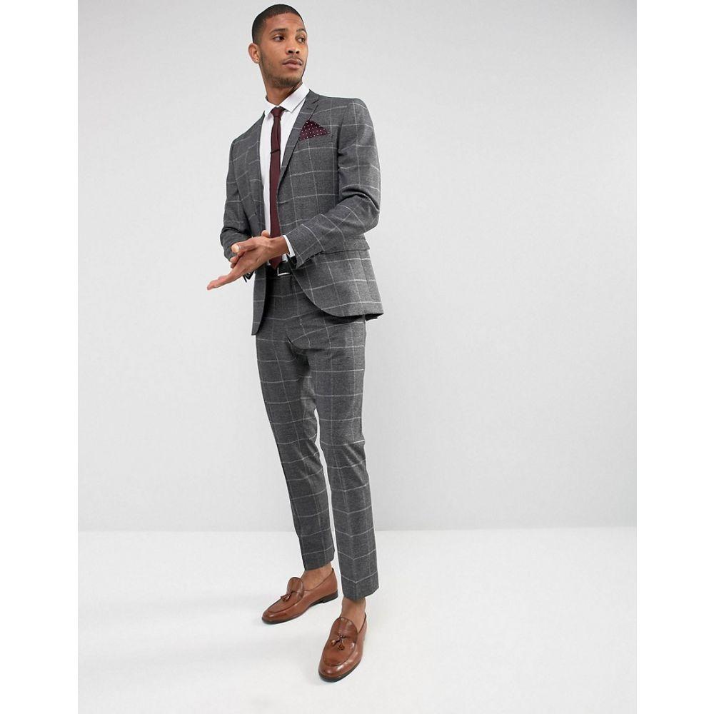 セレクテッド オム メンズ アウター ジャケット【Selected Homme Slim Suit Jacket in Check with Stretch Lining】Medium grey mel