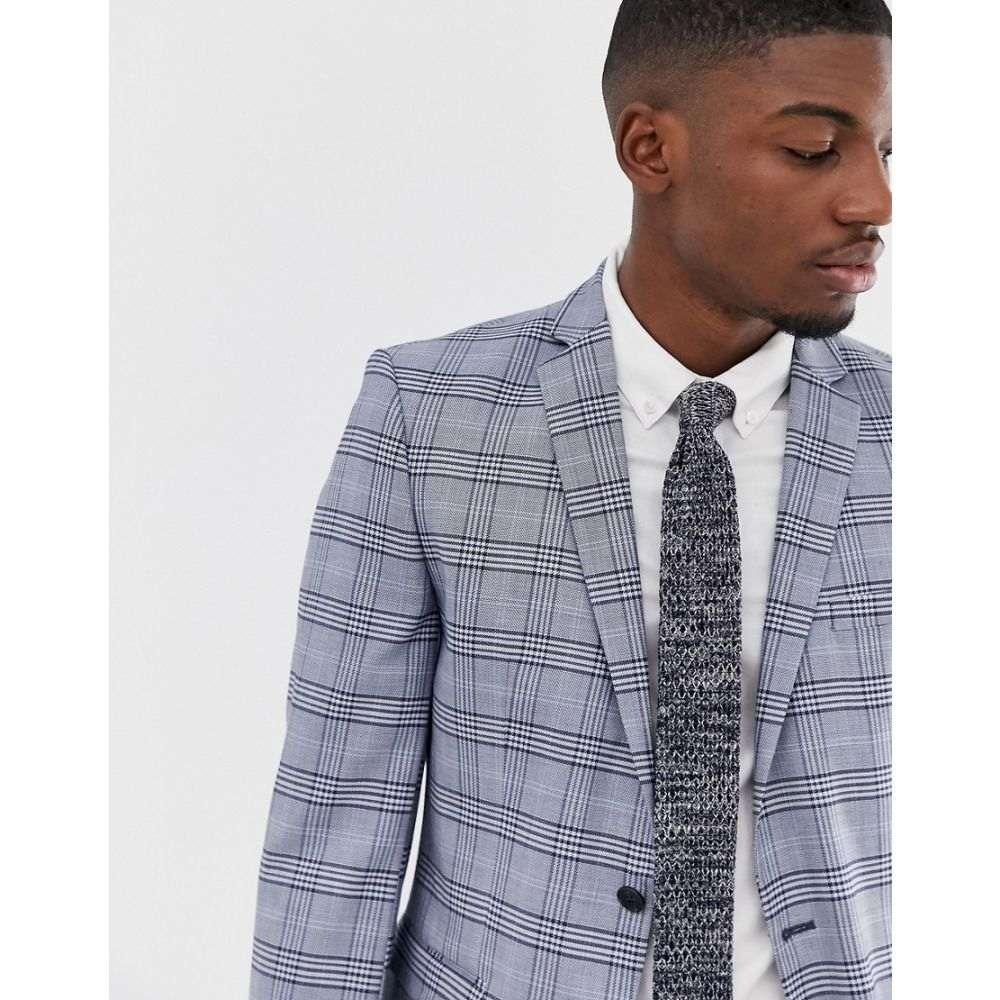 セレクテッド オム Selected Homme メンズ アウター スーツ・ジャケット【slim suit jacket in grey check】Light blue