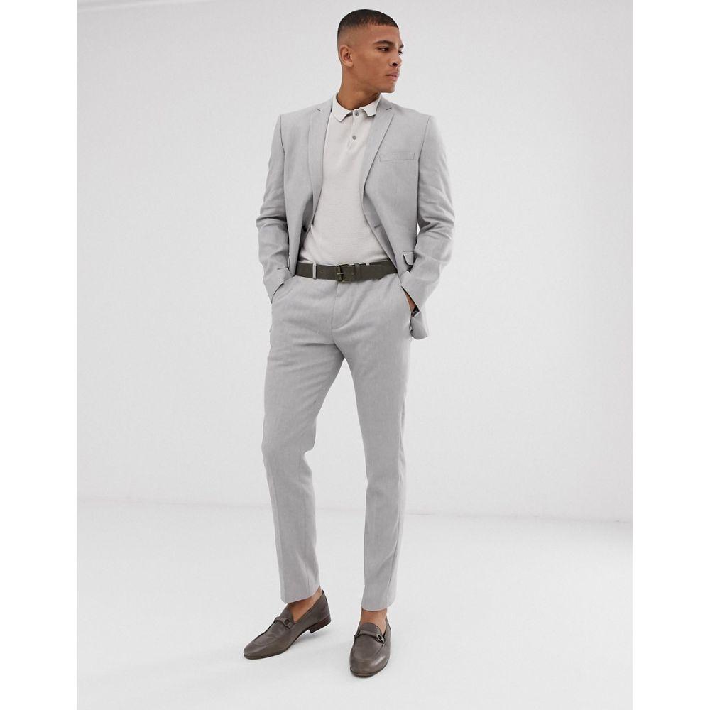 セレクテッド オム Selected Homme メンズ アウター スーツ・ジャケット【slim suit jacket in sand linen stretch】Light grey melange