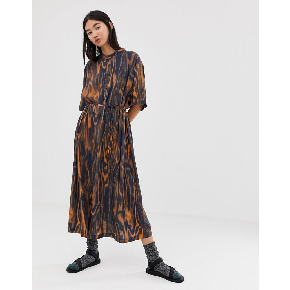 ウィークデイ Weekday レディース ワンピース・ドレス ワンピース【tie waist printed midi dress】Plywood print dark