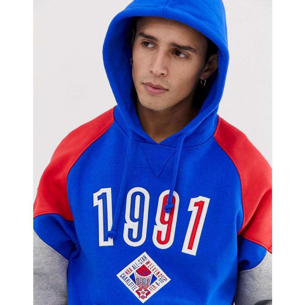 ミッチェル&ネス Mitchell & Ness メンズ トップス パーカー【1991 All Star panelled hoodie in blue & red】Blue