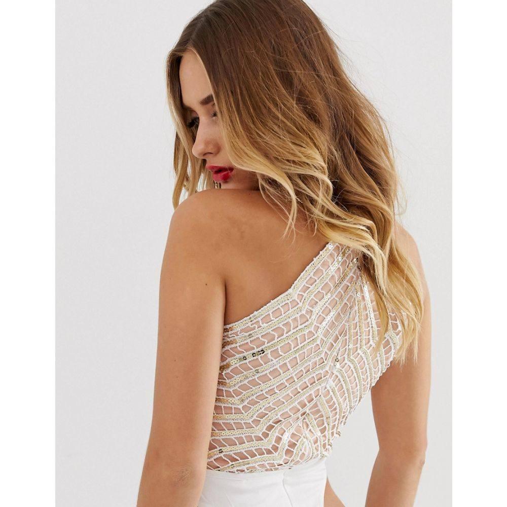 ラーレ Rare レディース インナー・下着 ボディースーツ【London plunge front sequin detail bodysuit in white】White