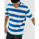 エレメント Element メンズ トップス Tシャツ【wide stripe t-shirt in blue】Blue