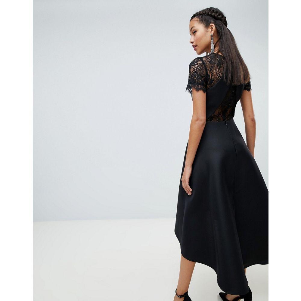 チチロンドン Chi Chi London レディース ワンピース・ドレス ワンピース【high low hem midi dress with lace sleeves in black】Black