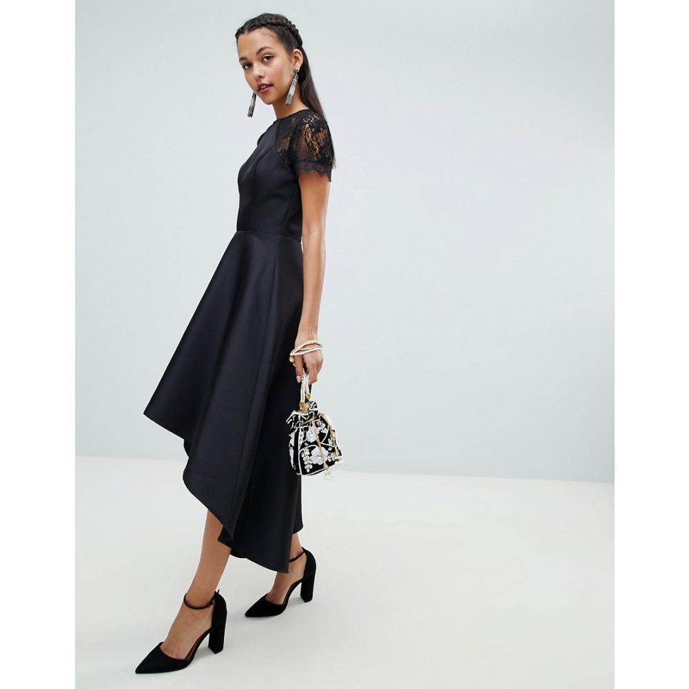 チチロンドン Chi Chi London レディース ワンピース・ドレス ワンピース【high low hem midi dress with lace sleeves in black】Black