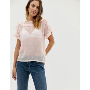 ナフナフ NAF NAF レディース トップス【Naf Naf romantic laced woven top with ruffle details】Pink