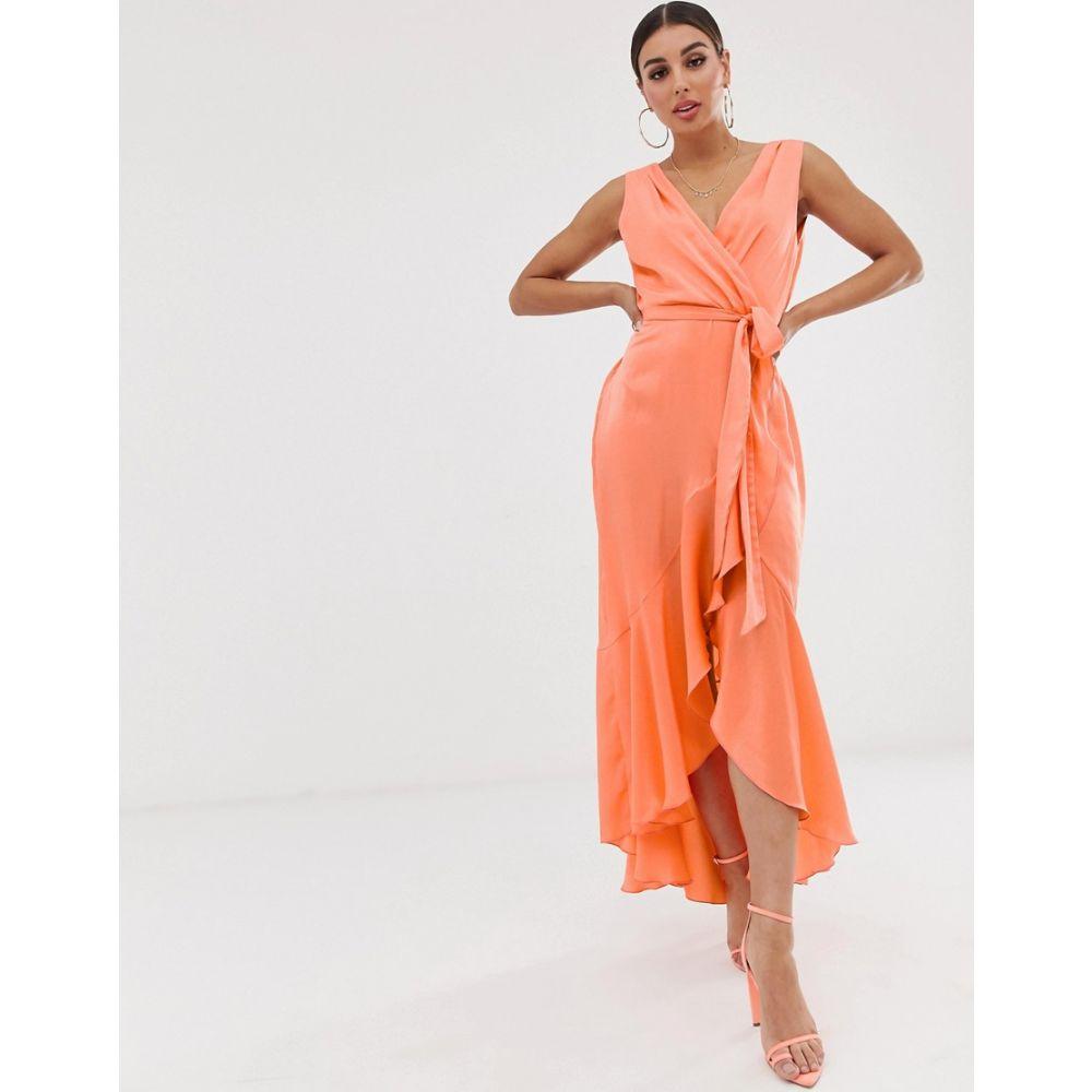 フラウンスロンドン Flounce London レディース ワンピース・ドレス ワンピース【wrap front midaxi dress in tangerine】Tangerine