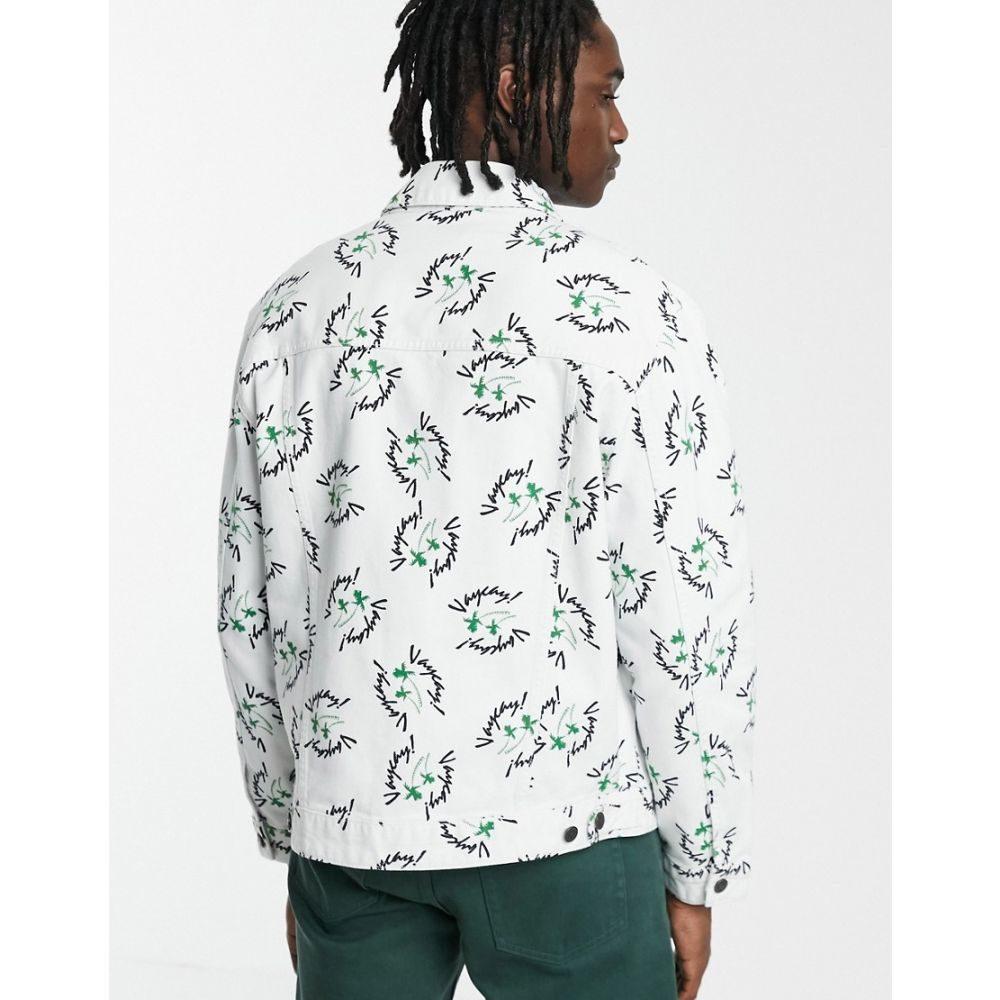 エイソス ASOS DESIGN メンズ アウター ジャケット【white denim jacket with all over print】White