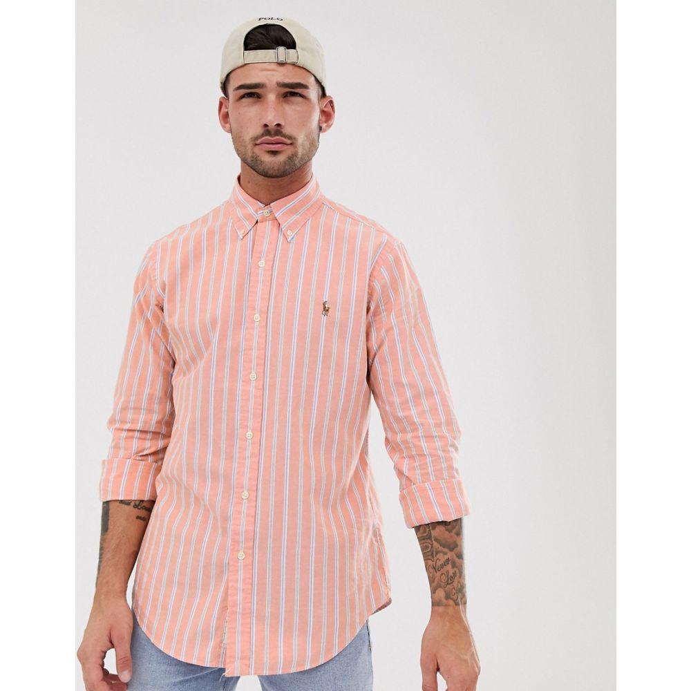 ラルフ ローレン Polo Ralph Lauren メンズ トップス シャツ【stripe oxford shirt custom regular fit button down player logo in orange】Orange/white