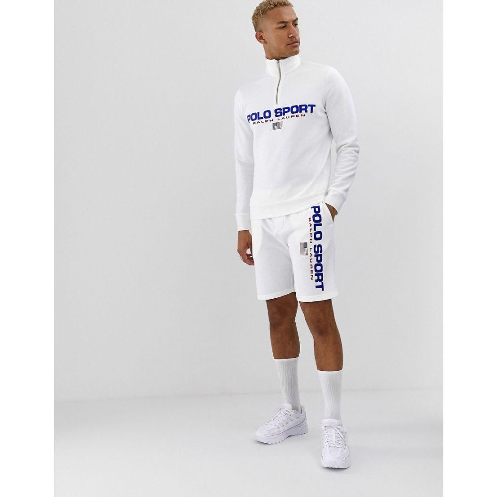 ラルフ ローレン Polo Ralph Lauren メンズ トップス スウェット・トレーナー【retro sport capsule logo half zip sweatshirt in white】White