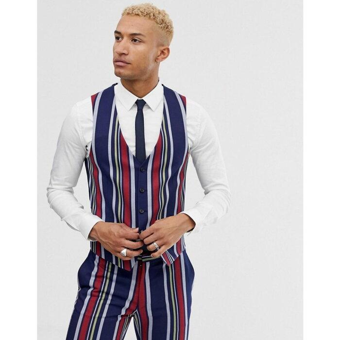 ロックストック Lockstock メンズ トップス ベスト・ジレ【skinny wasitcoat in bold stripe】Navy