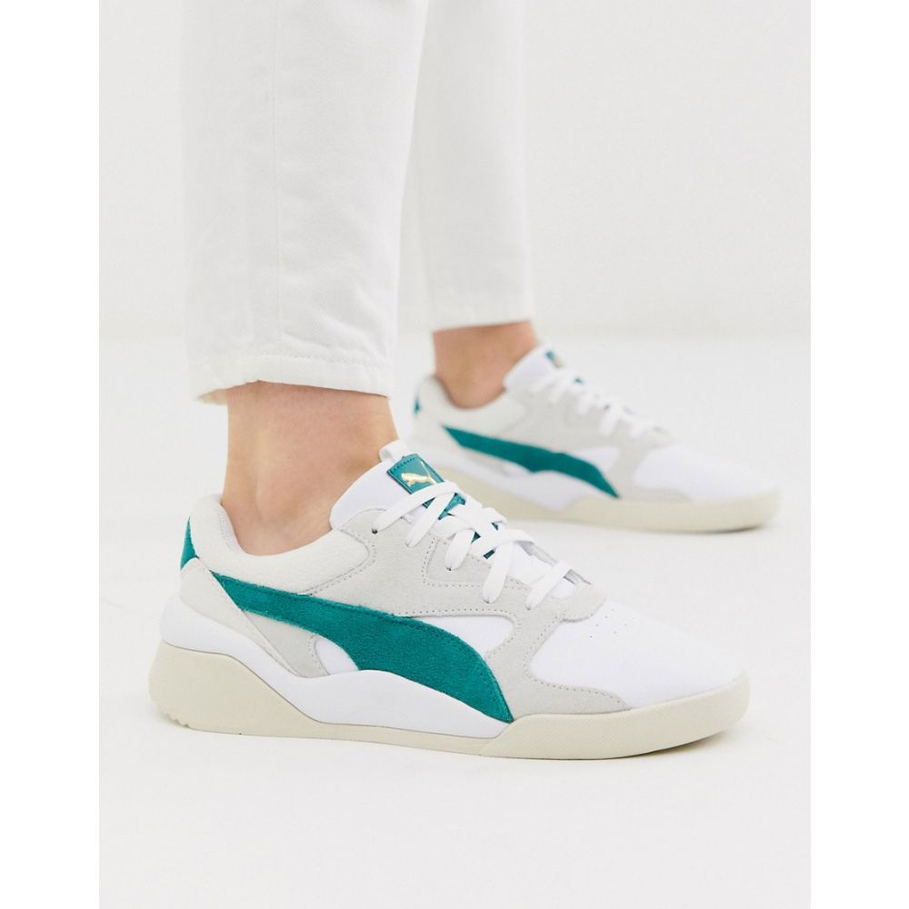 Aeon Heritage white and green trainers