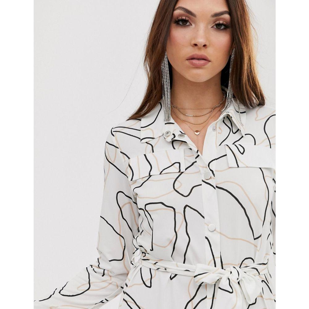 エイソス ASOS DESIGN レディース ワンピース・ドレス ワンピース【midi belted shirt dress in non print】Mono