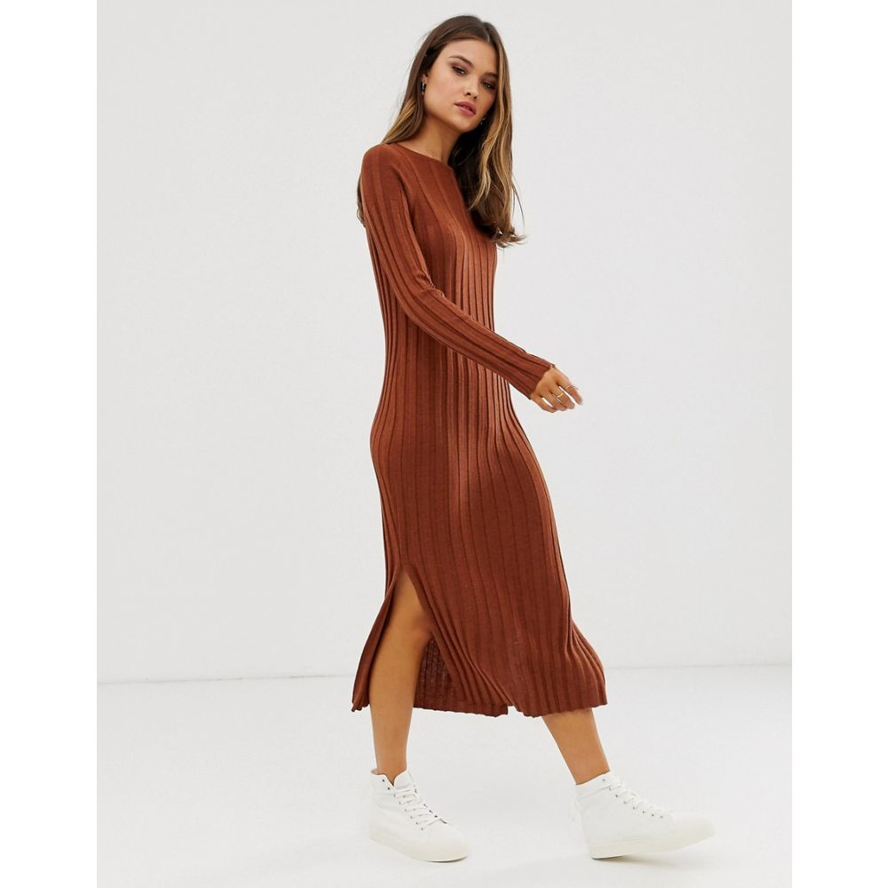 レディースファッション, ワンピース  ASOS DESIGN fine knit ribbed midi dress in recycled blendConker