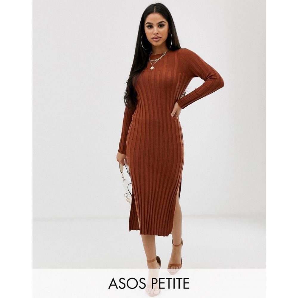 レディースファッション, ワンピース  ASOS Petite ASOS DESIGN Petite fine knit ribbed midi dress in recycled blendConker