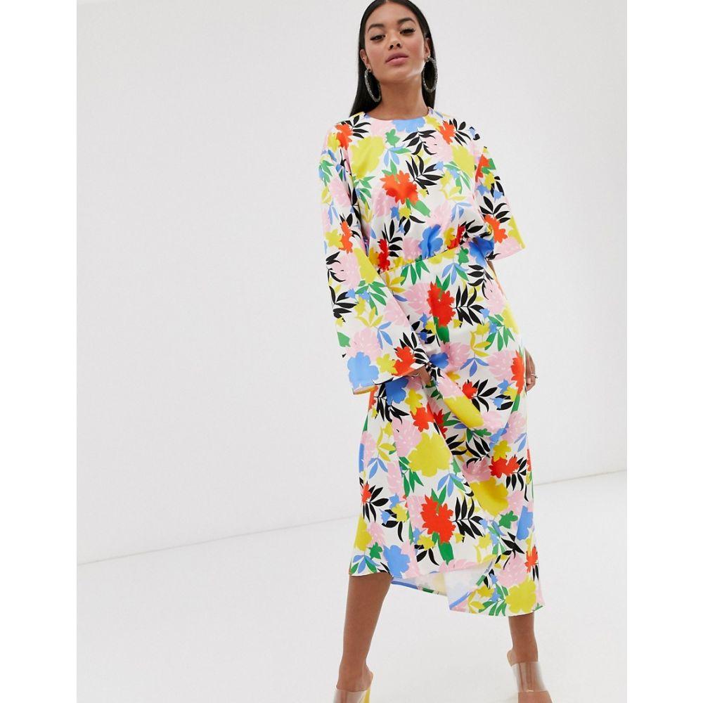 レディースファッション, ワンピース  ASOS DESIGN asymmetric sleeve maxi dress in bright floral printBright floral