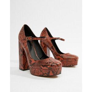 エイソス ASOS DESIGN レディース シューズ・靴 ヒール【Positive platform heels in snake】Conker snake