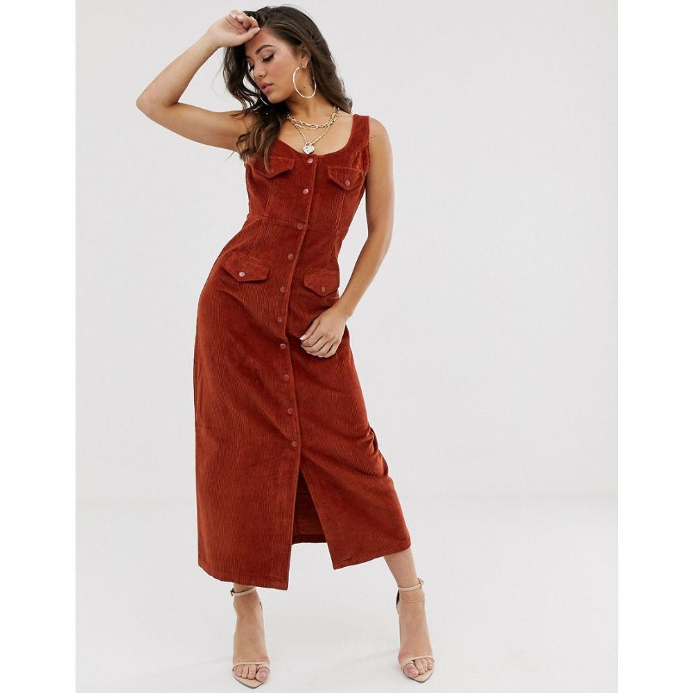 レディースファッション, ワンピース  ASOS DESIGN cord midi dress in conkerConker