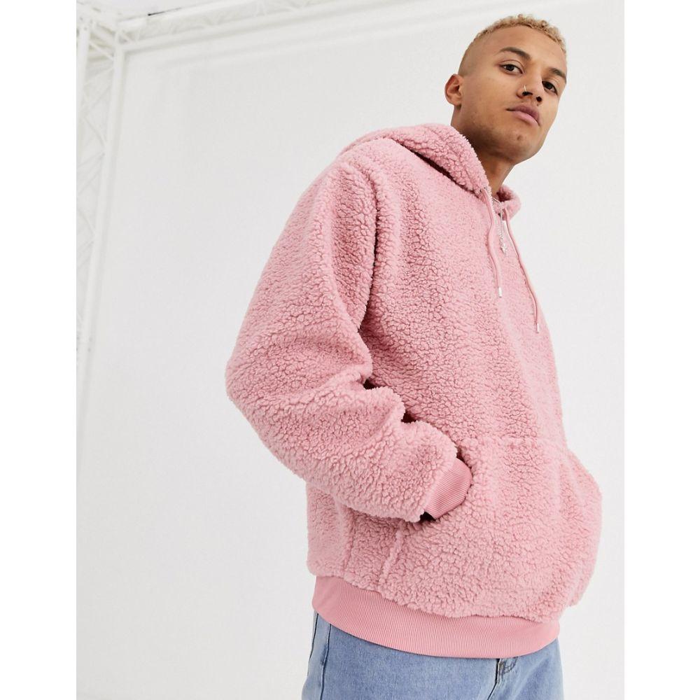 トップス, パーカー  ASOS DESIGN oversized hoodie in pink borgAsh rose