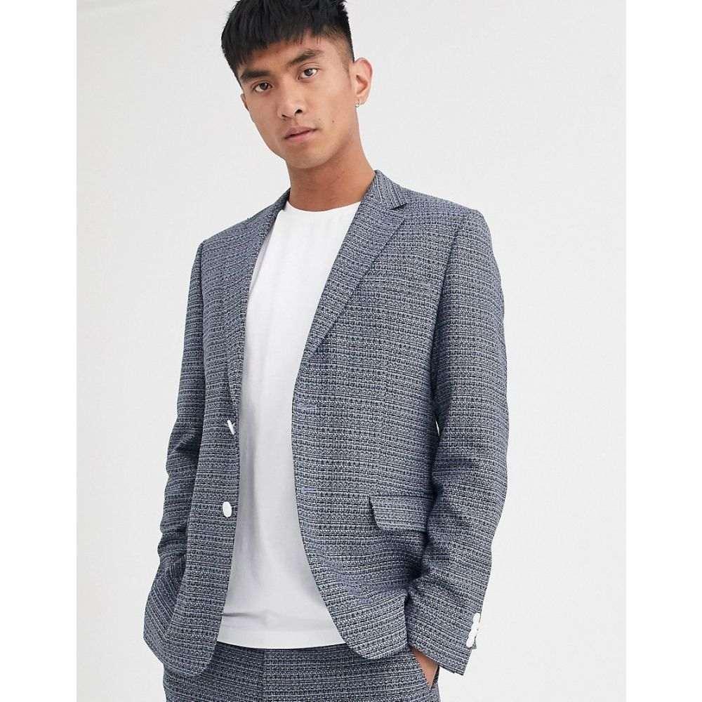 メンズファッション, コート・ジャケット  Noak suit jacket in blue texture fabricBlue