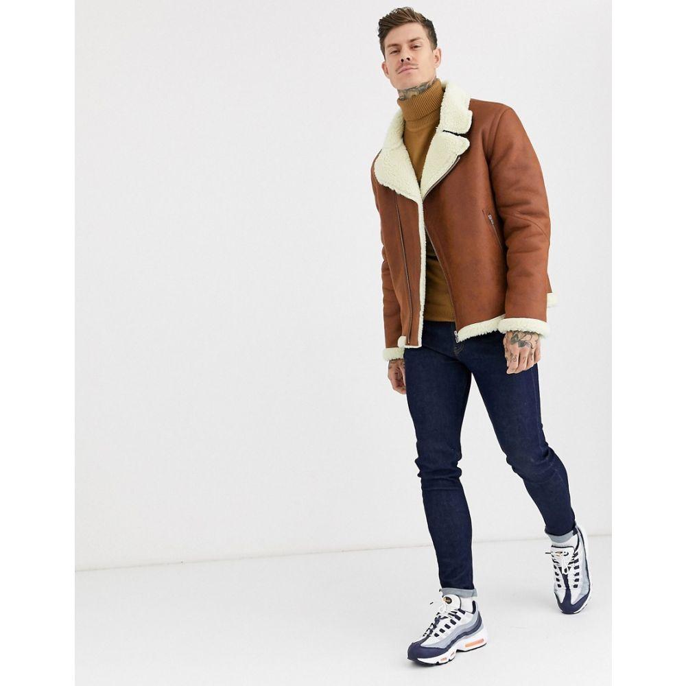 メンズファッション, コート・ジャケット  ASOS DESIGN faux shearling biker jacket with borg lining in tanTan